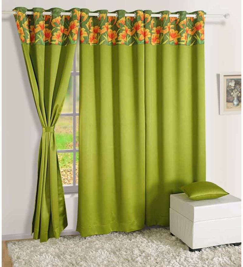 Green Faux Silk 60 x 48 Inch Solid PNP Blackout Eyelet Window Curtain by Swayam