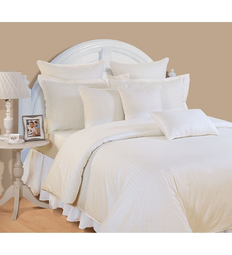 Ivory Cotton Queen Size Bed Sheet - Set of 3 by Swayam
