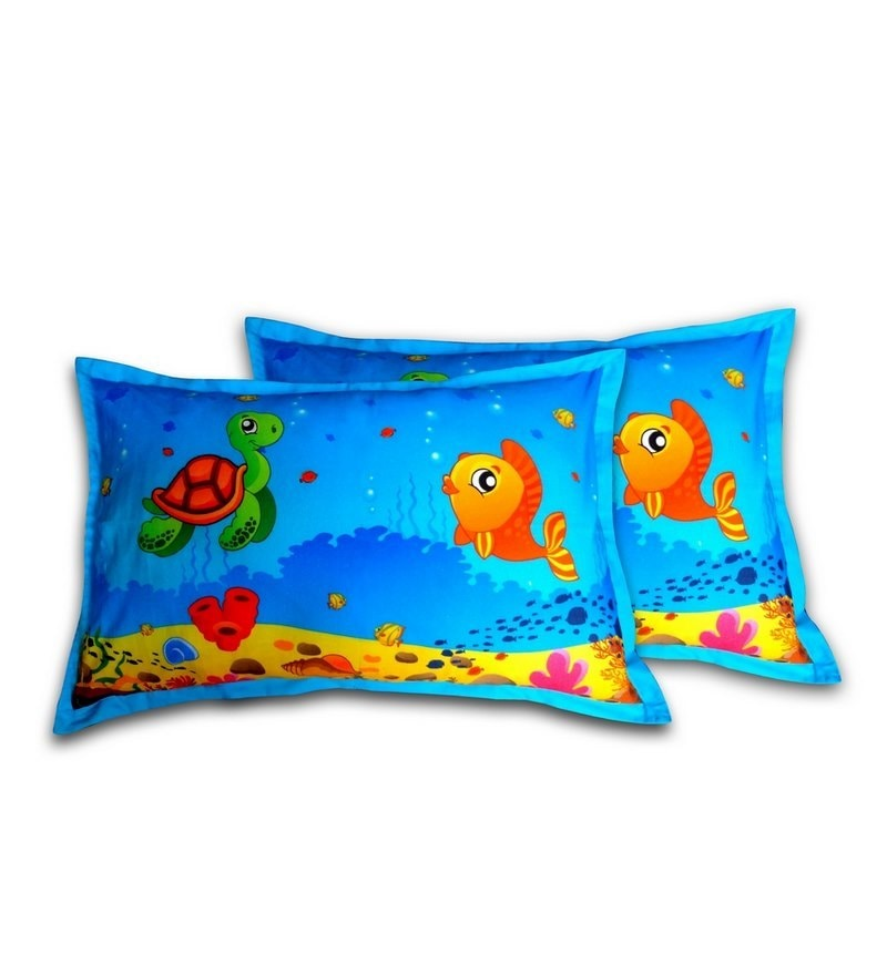 Ocean Blue Cotton Pillow Cover by Swayam