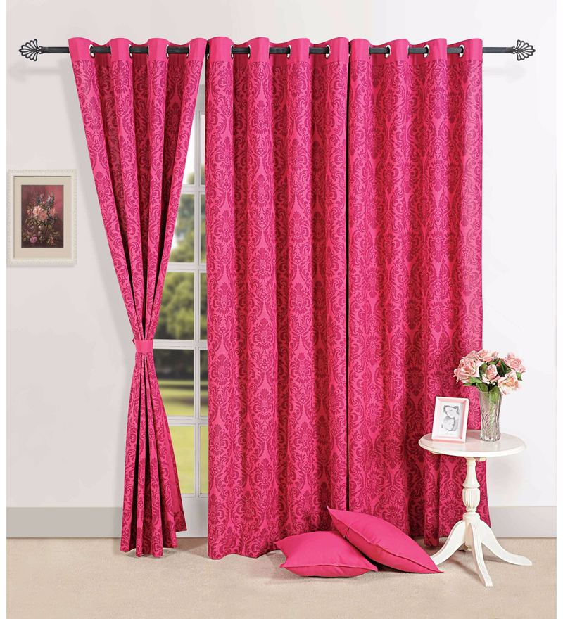 Magenta 100% Cotton 60 x 54 Inch Ethnic Printed Eyelet Window Curtain by Swayam