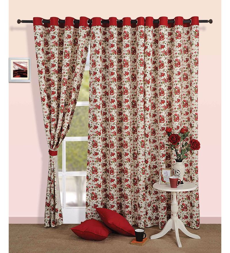 Maroon 100% Cotton 60 x 54 Inch Floral Premium Lining Printed Eyelet Window Curtain by Swayam
