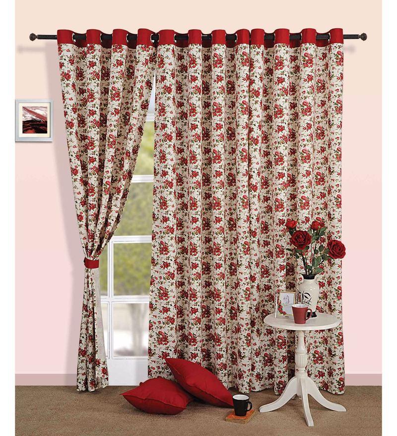 Maroon Cotton Floral Printed Eyelet Curtain by Swayam