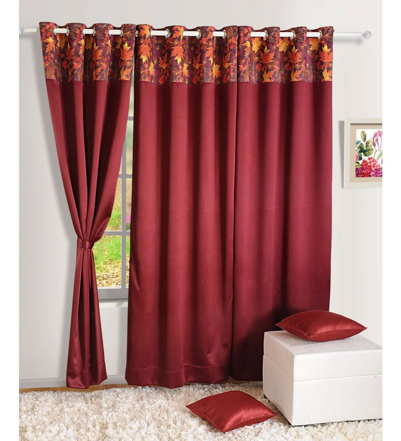 Maroon Faux Silk Solid Blackout Eyelet Curtain by Swayam