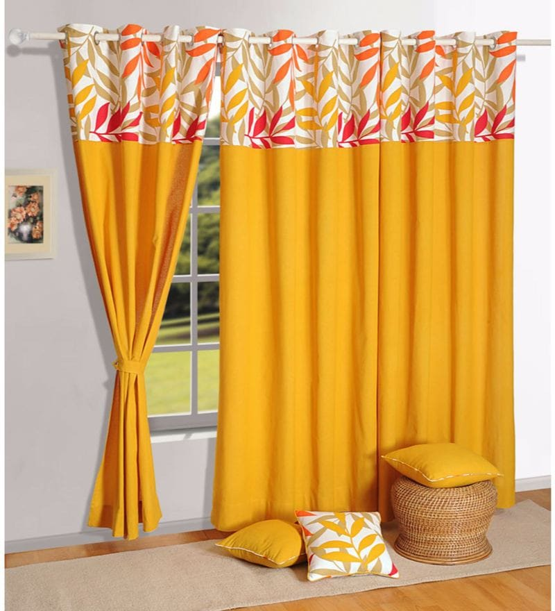 Mustard 100% Cotton 60 x 54 Inch Solid Plain Eyelet Window Curtain by Swayam