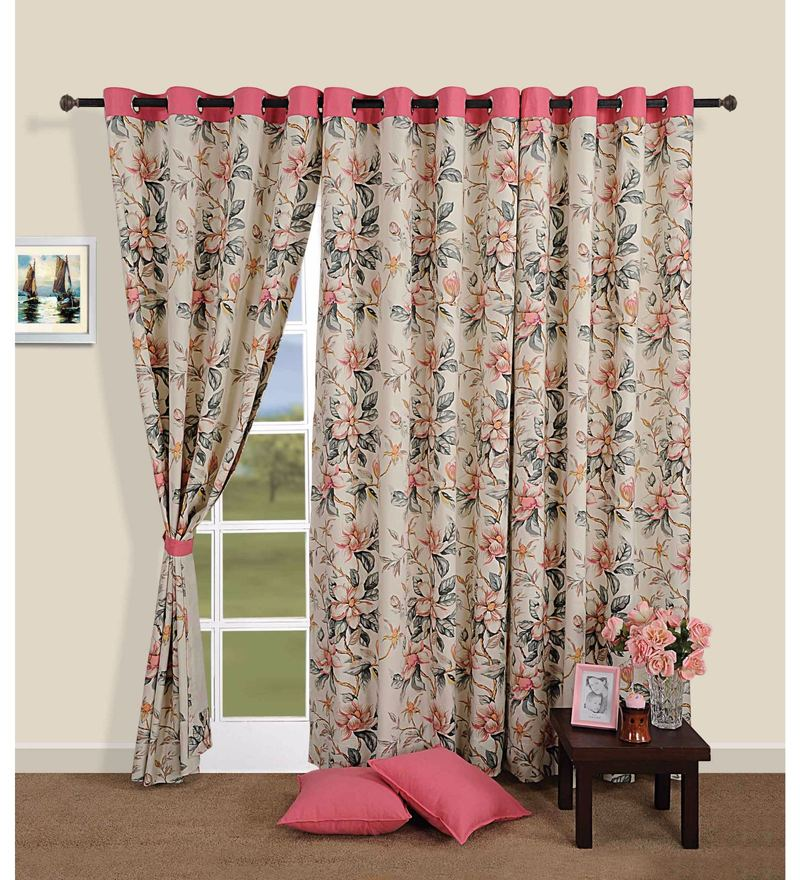 Pink 100% Cotton 60 x 54 Inch Floral Printed Eyelet Window Curtain by Swayam