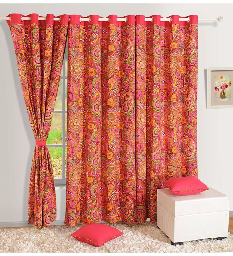 Pink Cotton Ethnic Printed Eyelet Curtain by Swayam