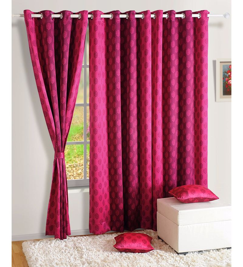 Pink Faux Silk Ethnic Sigma Eyelet Curtain by Swayam