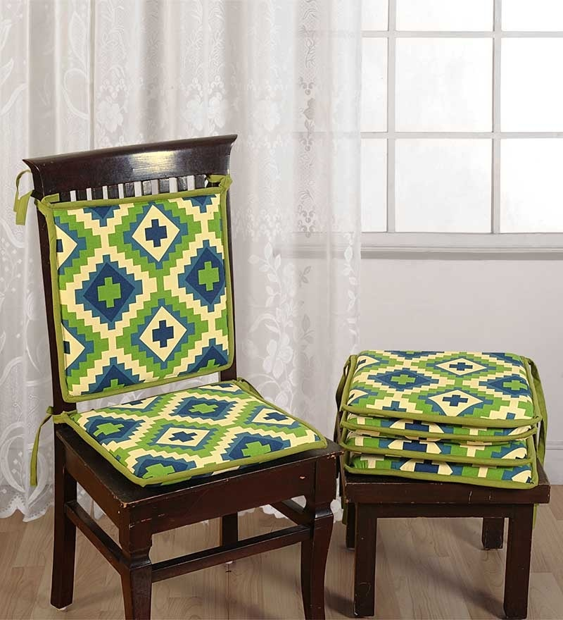 Green Cotton 16 x 16 Inch Contemporary Chair Pad - Set of 6 by Swayam