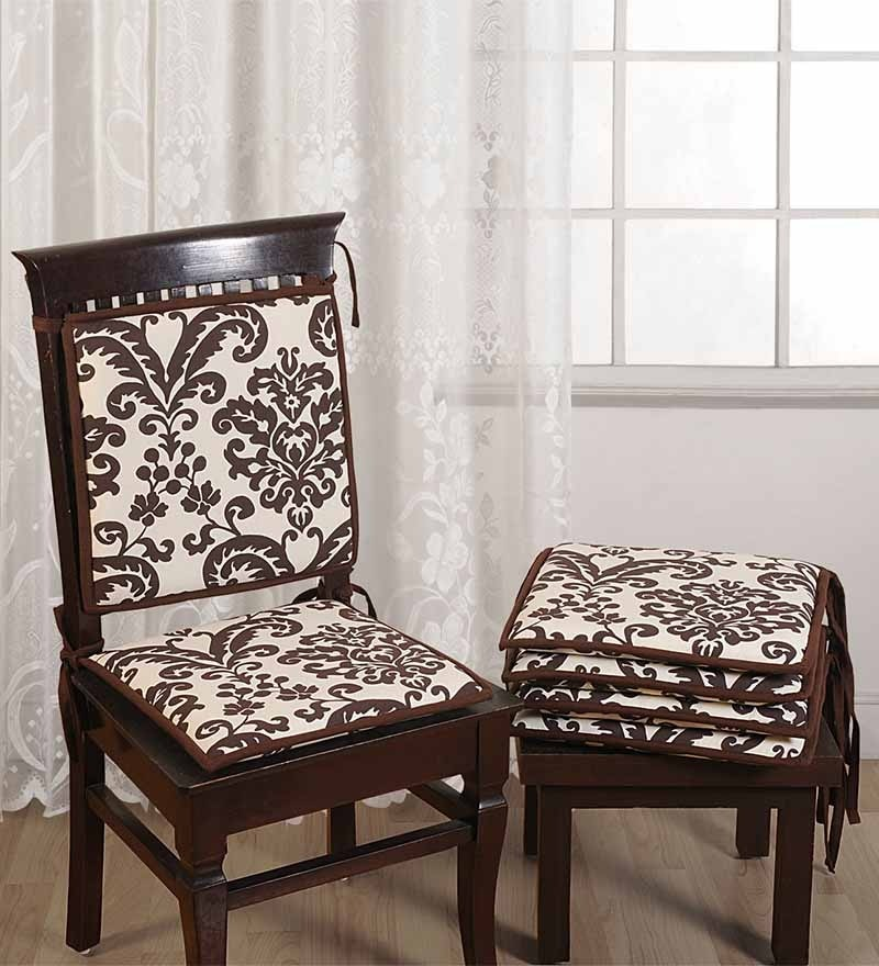 Brown Cotton 16 x 16 Inch Contemporary Chair Pad - Set of 2 by Swayam