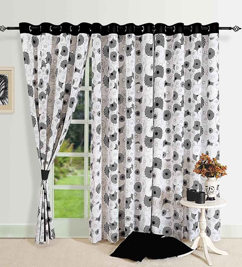 Monochrome Black Cotton 88 x 54 Inch Eyelet Door Curtain by Swayam