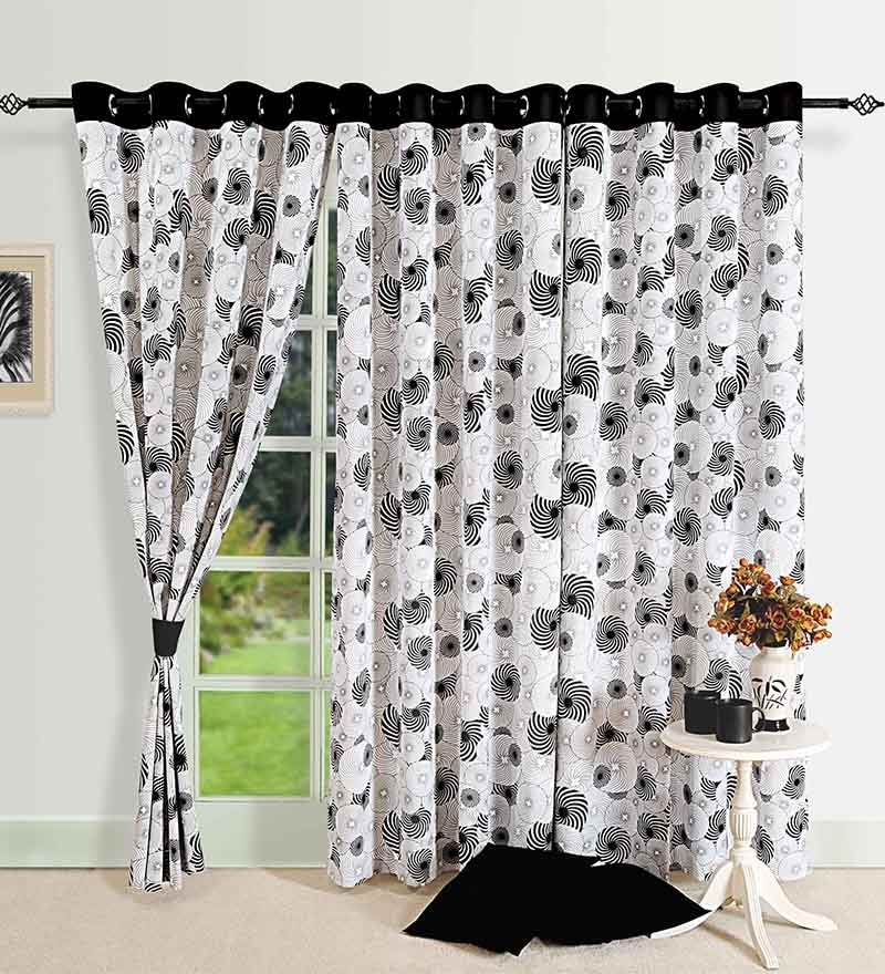 Monochrome Black Cotton 60 x 54 Inch Eyelet Window Curtain by Swayam