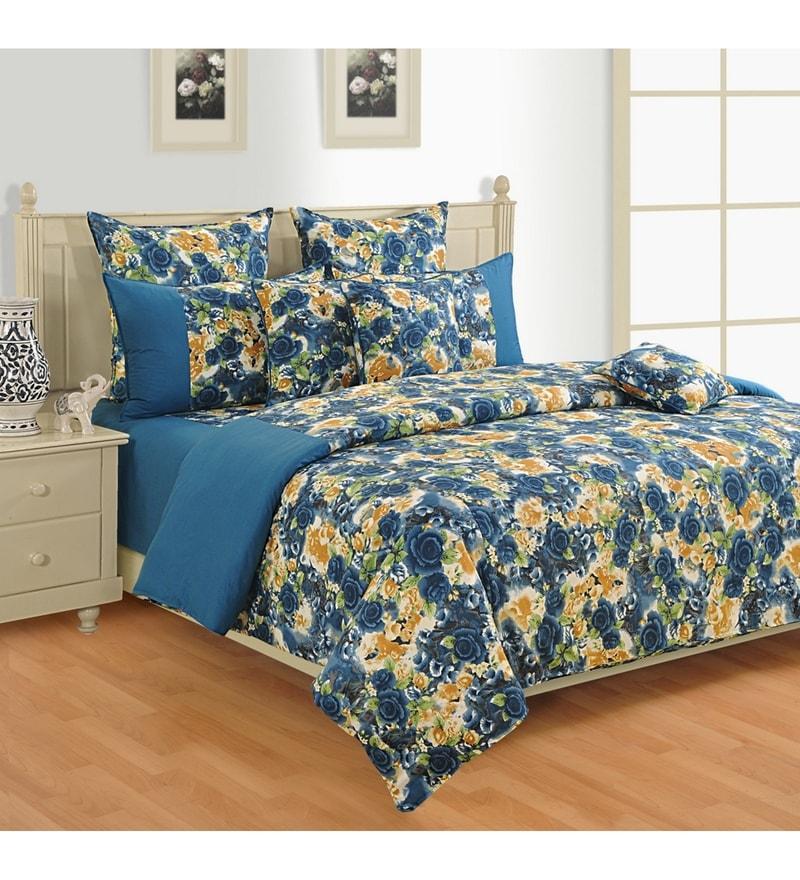 Blue Cotton Single Size Bed Sheet - Set of 2 by Swayam