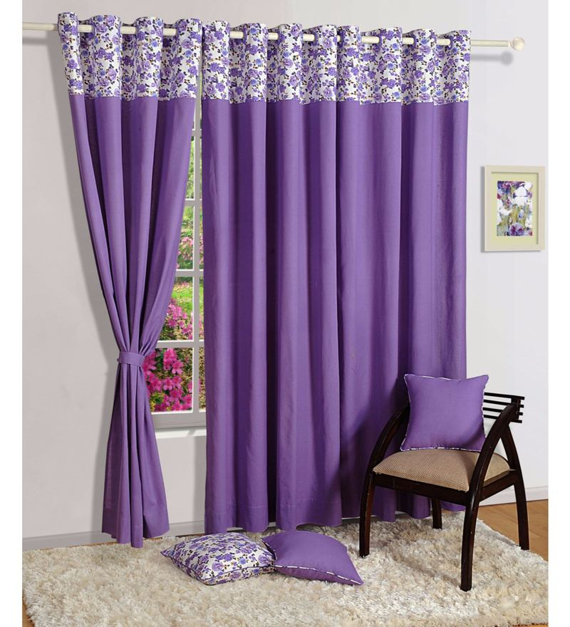 Purple Cotton Solid Plain Eyelet Curtain by Swayam