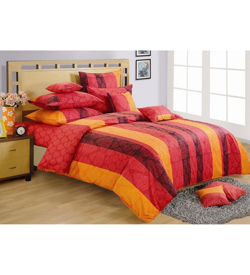 Red Cotton Queen Size Bedding Set - Set of 4 by Swayam
