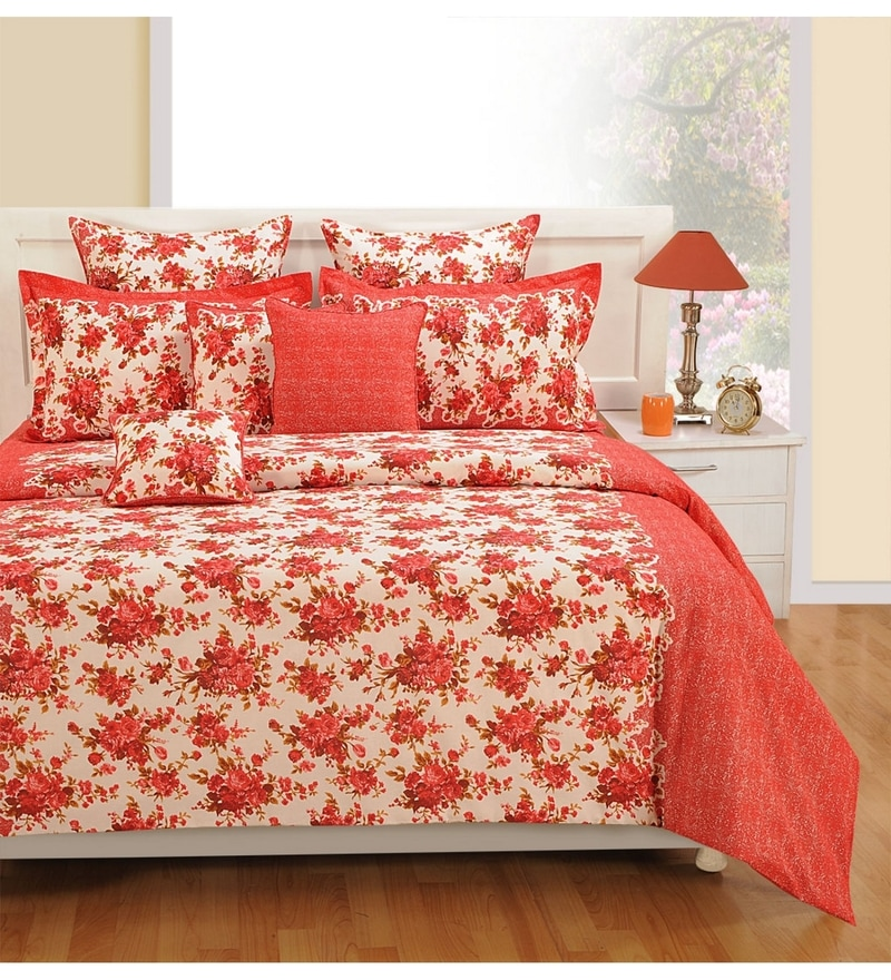 Red Cotton Bed sheet - Set of 2 by Swayam