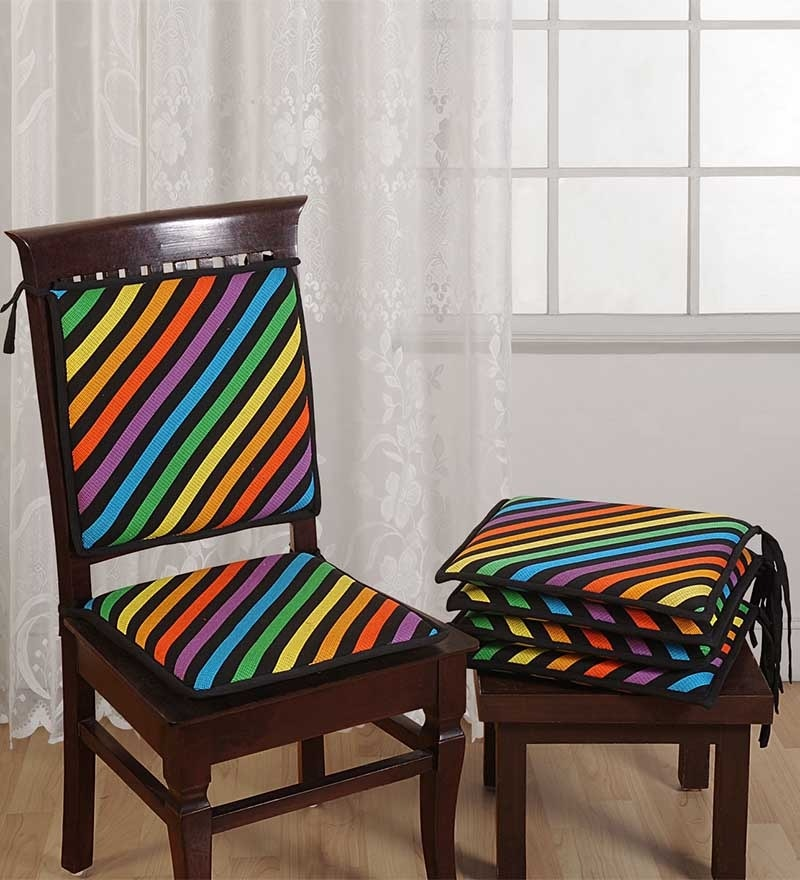 Multicolour Cotton 16 x 16 Inch Stripes Chair Pad - Set of 4 by Swayam