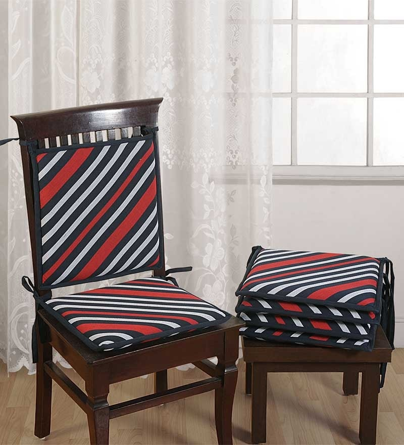 Blue Cotton 16 x 16 Inch Stripes Chair Pad - Set of 2 by Swayam