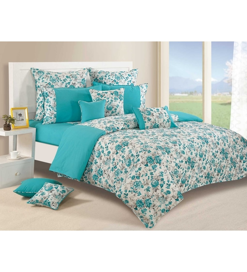 Teal Cotton Queen Size Bedding Set - Set of 4 by Swayam