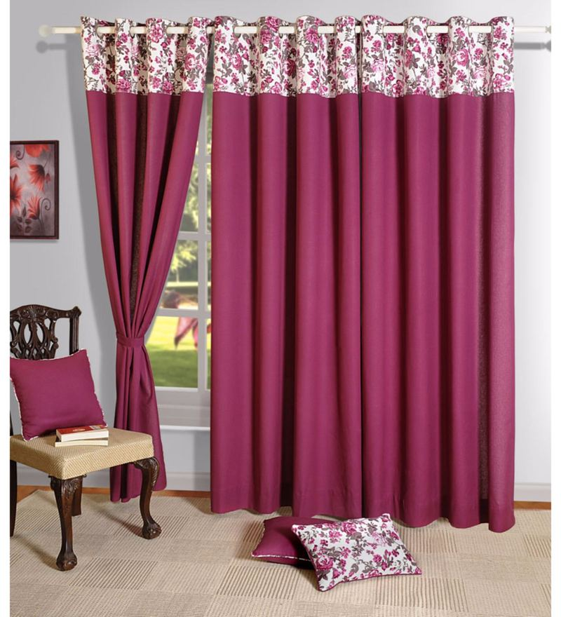 Wine Cotton Solid Plain Eyelet Curtain by Swayam