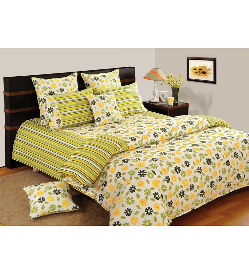 Yellow Cotton Queen Size Bedding Set - Set of 4 by Swayam
