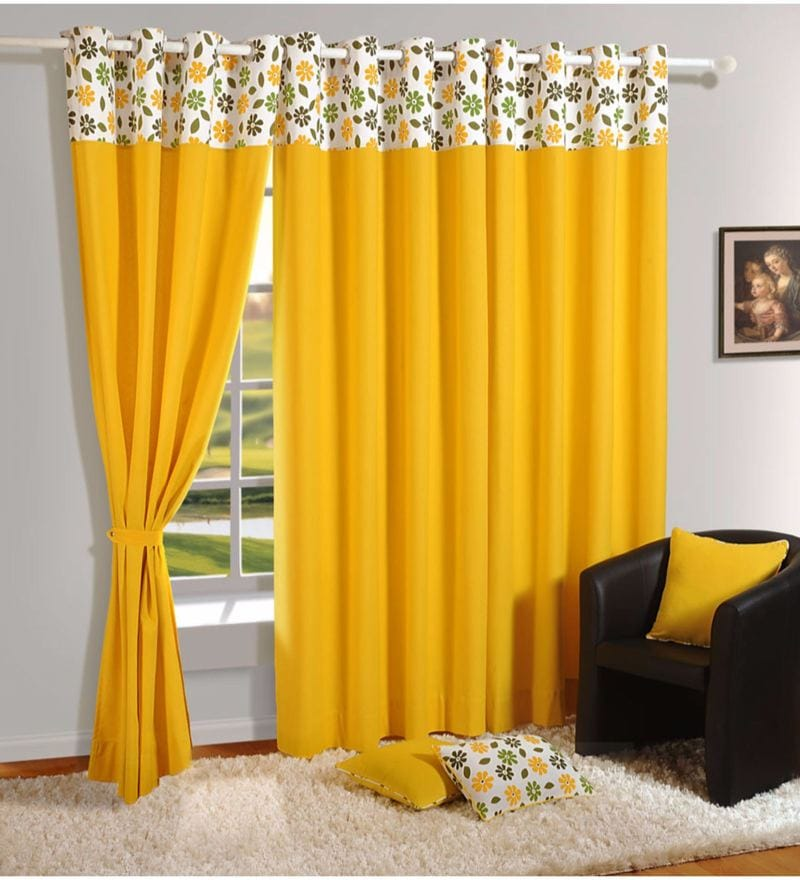 Yellow Cotton Solid Premium Lining Plain Eyelet Curtain by Swayam