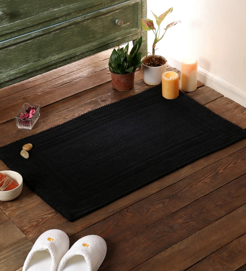 Black Cotton 31 x 20 Bath Mat by SWHF