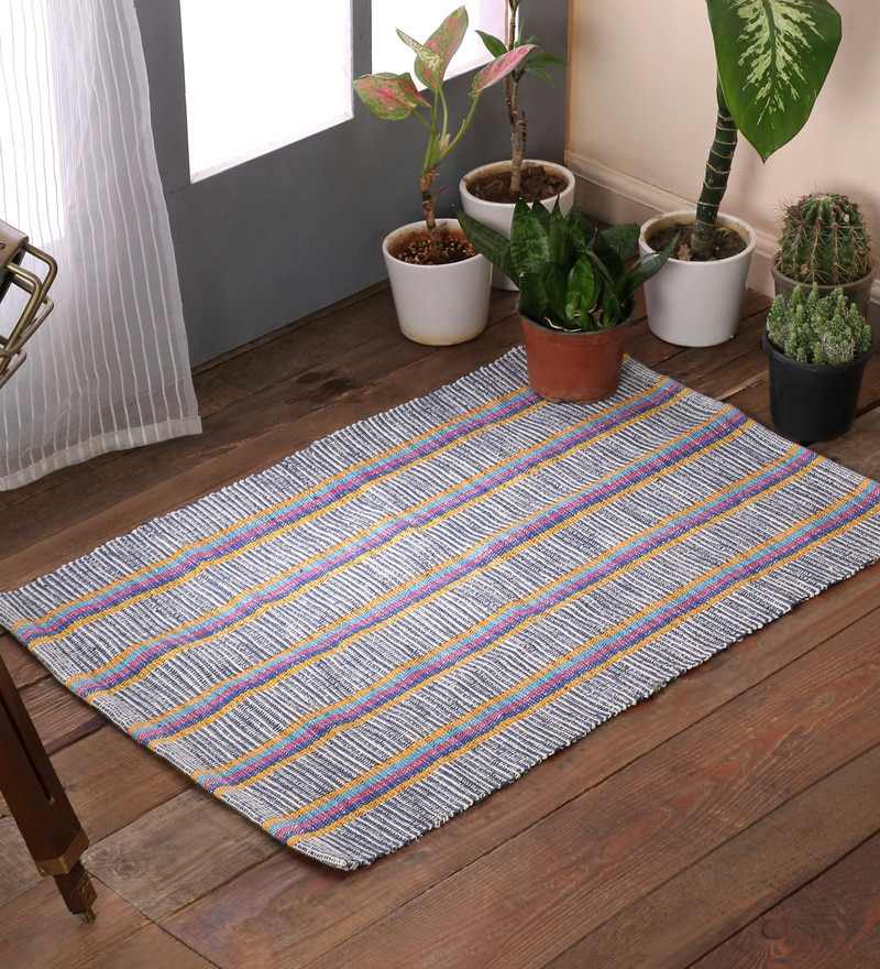 Grey Cotton 20 x 30 Inch Double Twisted Area Rugs by SWHF