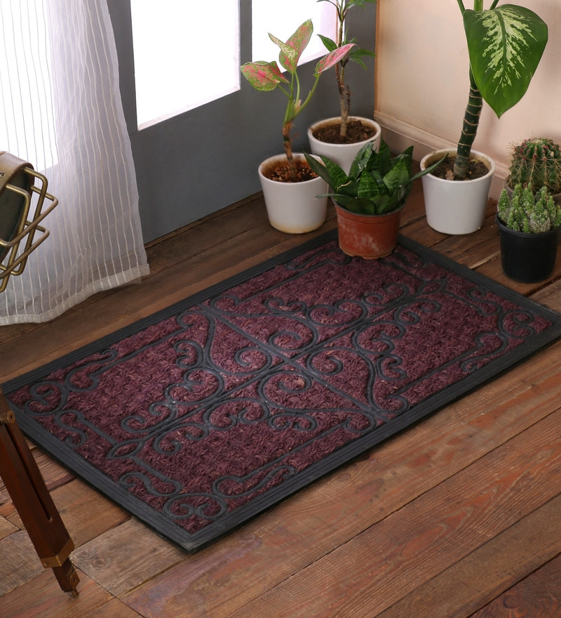 Grey Rubber & Coir 30 x 18 Inch Panama Iron Gate Door Mats by SWHF