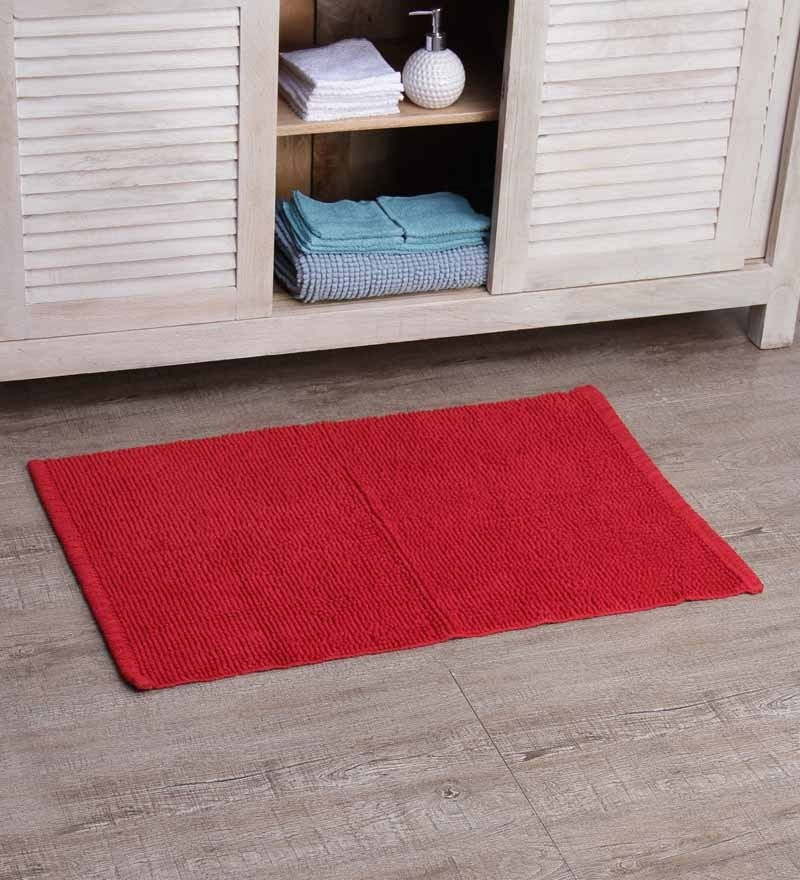 SWHF Red 100% Cotton Bath Mat