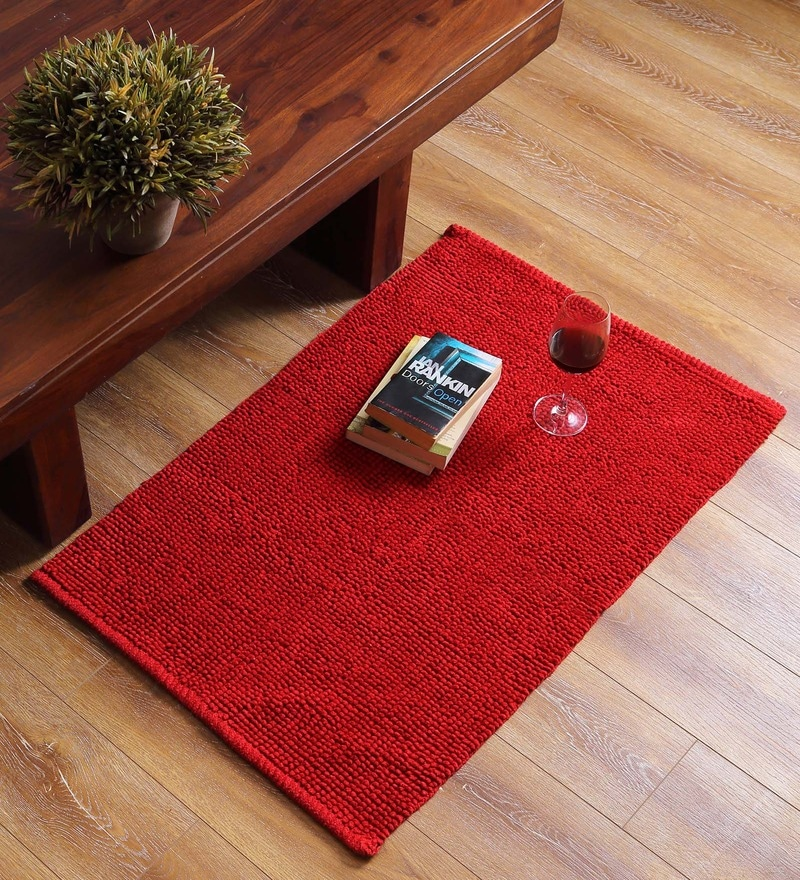 Red Cotton 35 x 24 Inch Solid Rectangular Jumbo Loop Area Rug by SWHF