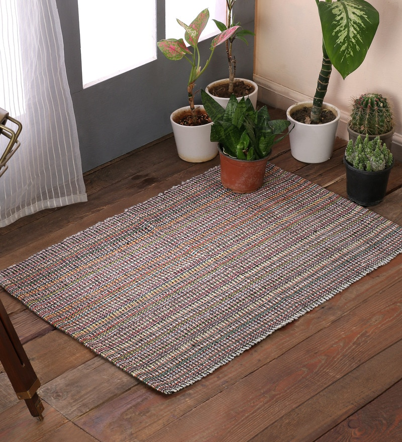 Multicolour Cotton 20 x 30 Inch Double Twisted Area Rugs by SWHF