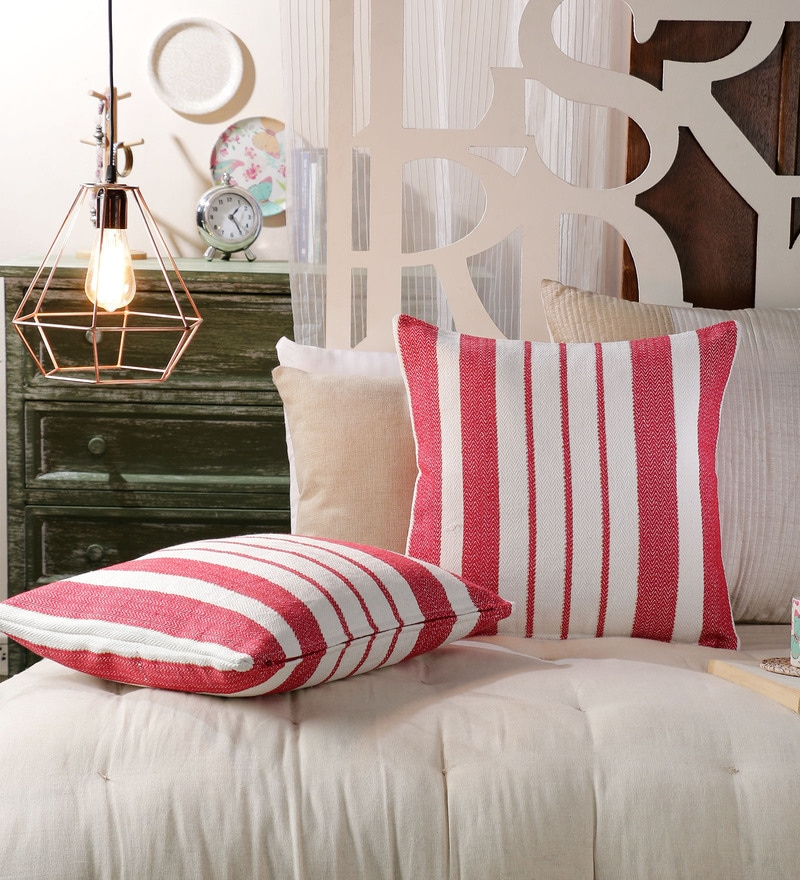 Red Cotton 20 x 20 Inch Red Stripes Cushion Covers - Set of 2 by SWHF