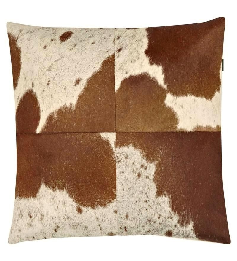 White Leather 18 x 18 Inch Cushion Cover by SWHF