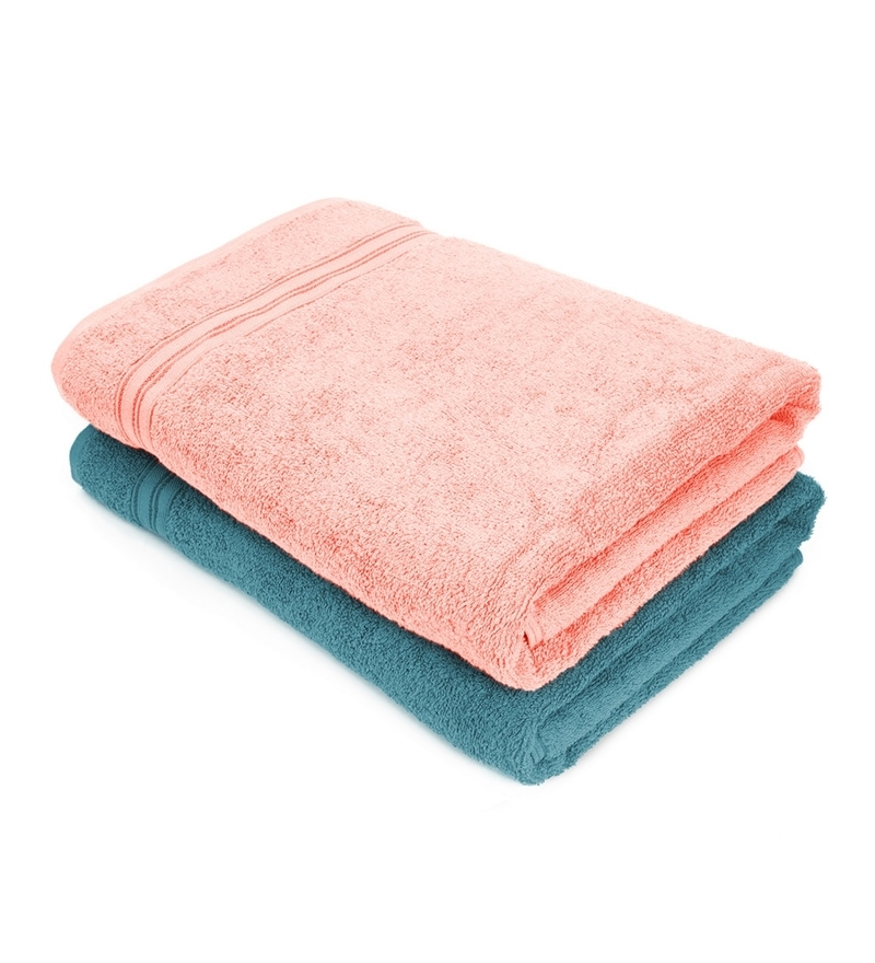 Grey and Pink Cotton 28 x 59 Bath Towel - Set of 2 by Swiss Republic