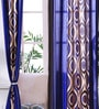 Blue Jacquard 47 x 83 Inch Printed Curtain - Set of 2 by SWHF