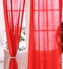 SWHF Red Jacquard 83 x 47 Inch Solid Curtain - Set of 2