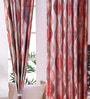 SWHF Red Jacquard 83 x 47 Inch Spiral Printed Curtain - Set of 2