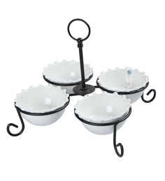 Symphony Alfresco Pearl Serving Bowl Set With Iron Stand, White, Set Of 4