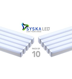 Syska 18 Watts T5 LED Tube Light (Pack Of 10, Warm White/Yellow )