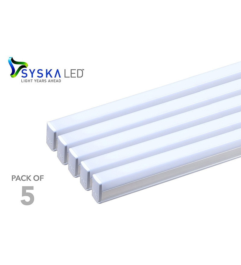 Syska T5 Cool Day Light 22-Watt LED Tube Lights - Set of 5
