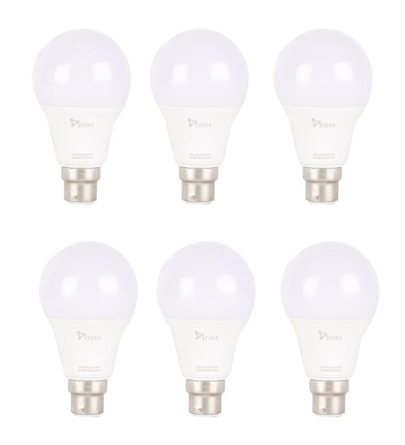 Syska White 9W LED Bulb - Set of 6