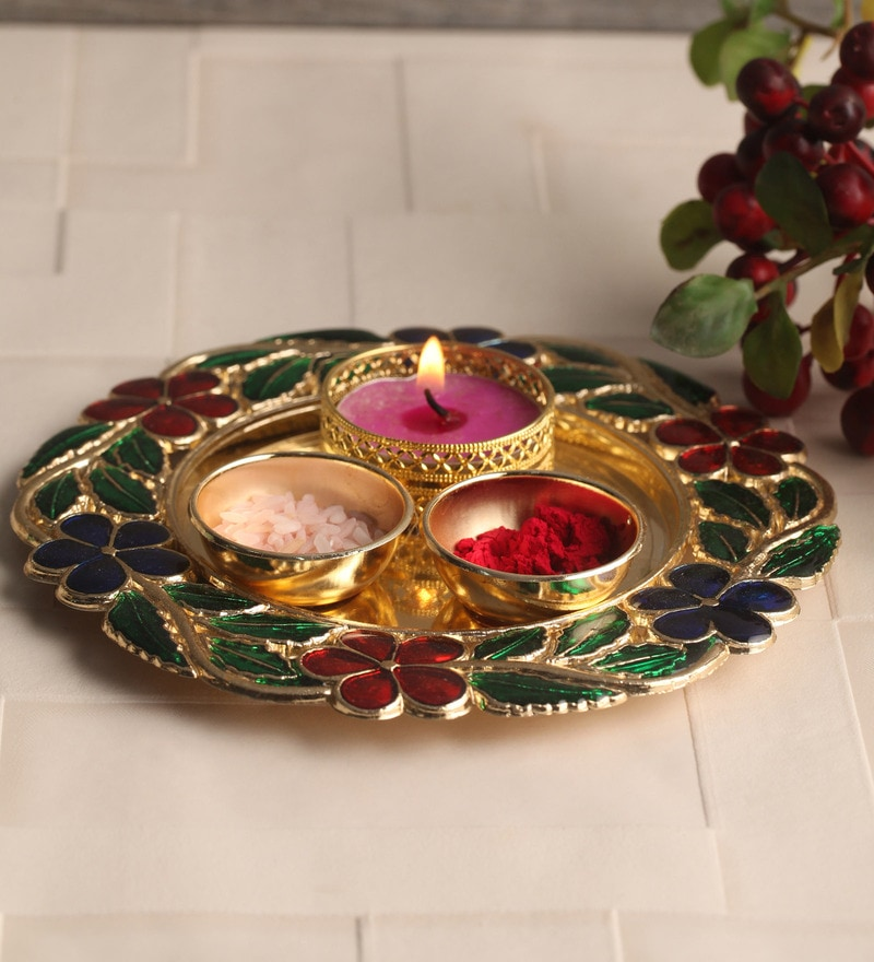 Multicolour Metal Puja Set by Gupta Glass Gallery