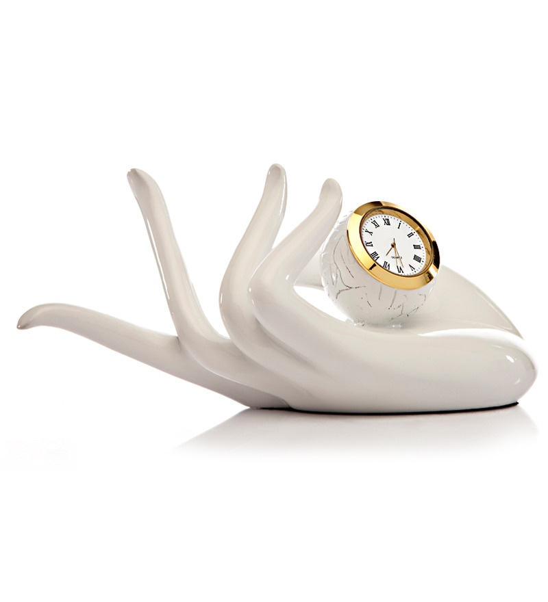 Take Me Home White Resin 9.4 x 4 x 5.11 Inch Hand-shaped Clock