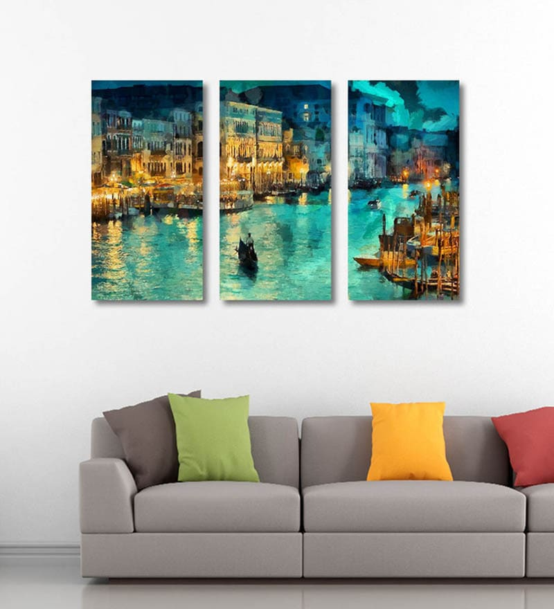 Canvas 36 x 0.5 x 24 Inch A Beautiful View of Venice Premium Quality Ready to Hang Framed Art Panels - Set of 3 by Tallenge