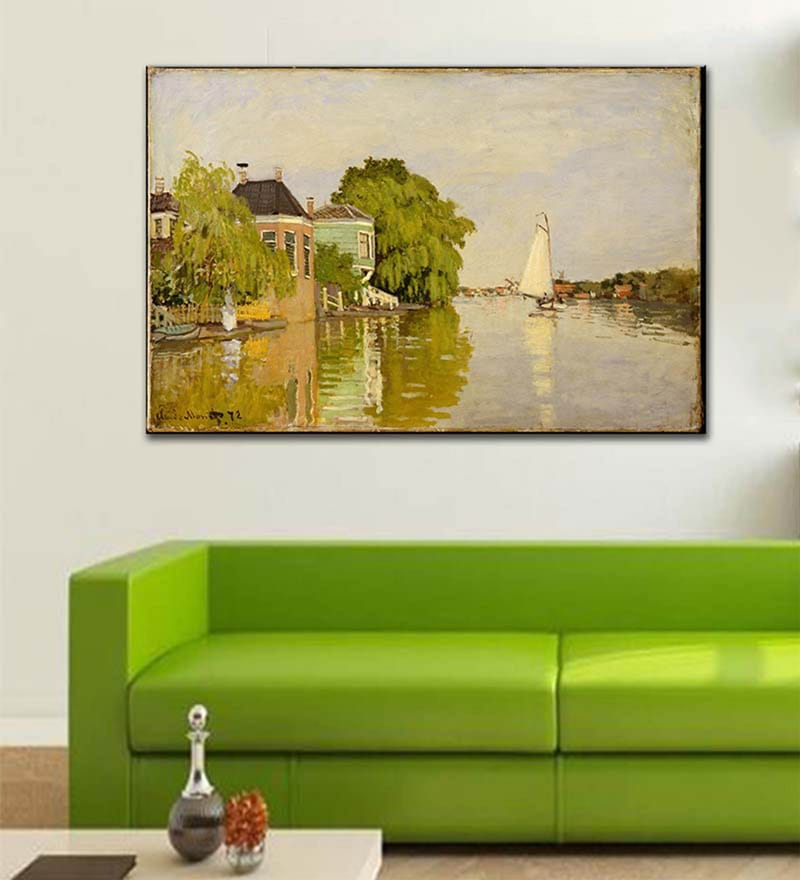 1dbfaae0377 Rolled Canvas 12 x 18 Inch Old Masters Collection Houses on The Achterzaan  by Claude Monet