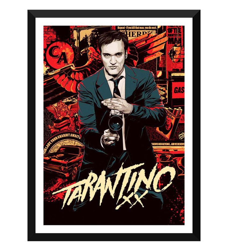Paper 12 x 0.5 x 17 Inch Hollywood Collection Quentin Tarantino 20 Years Framed Digital Poster by Tallenge