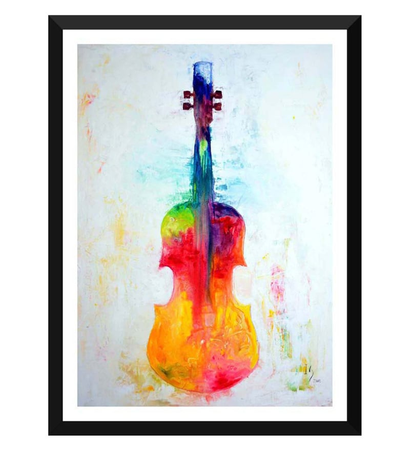 Paper 12 x 0.5 x 17 Inch The Colorful Violin Framed Digital Poster by Tallenge