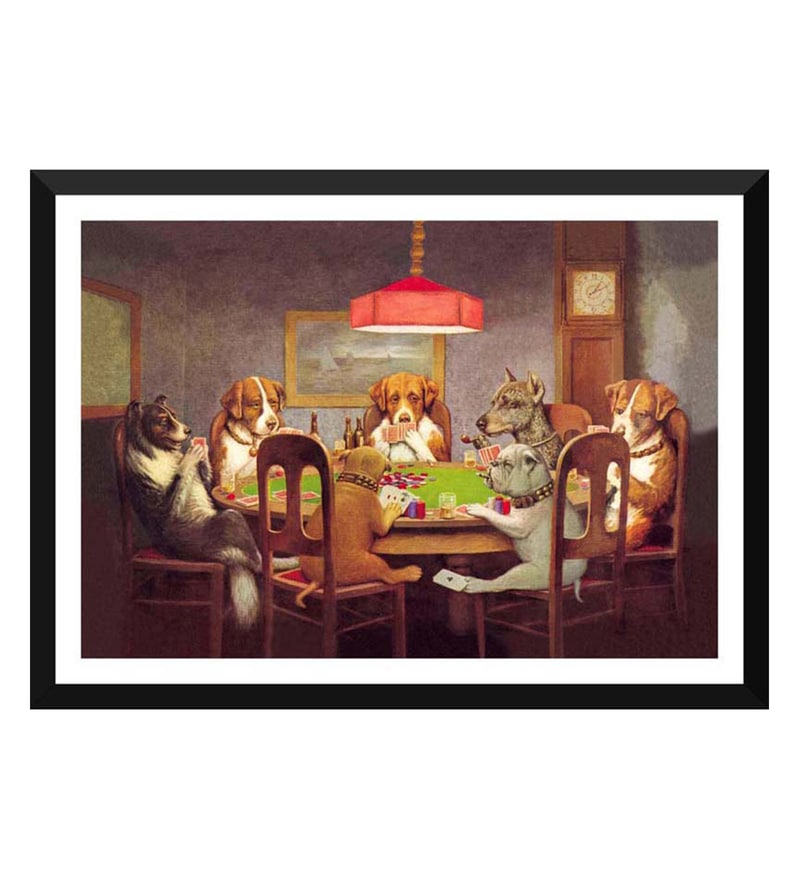 Paper 17 x 0.5 x 12 Inch Dogs Playing Poker Framed Digital Poster by Tallenge