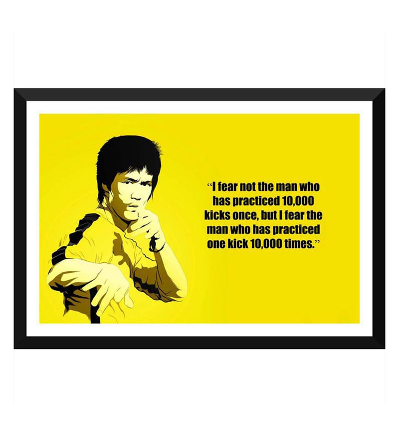 Paper 17 x 0.5 x 12 Inch Spirit of Sports Motivational Quote The Power of Practice Bruce Lee Framed Digital Poster by Tallenge