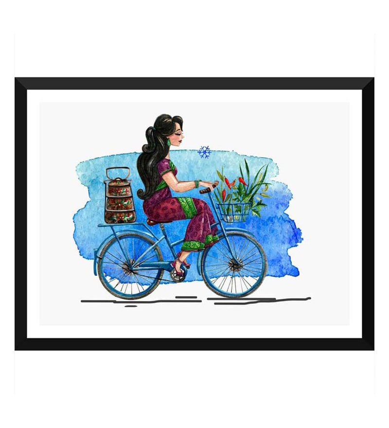 Paper 17 x 0.5 x 12 Inch Young Indian Girl with Tiffin on Her Cycle Framed Digital Poster by Tallenge